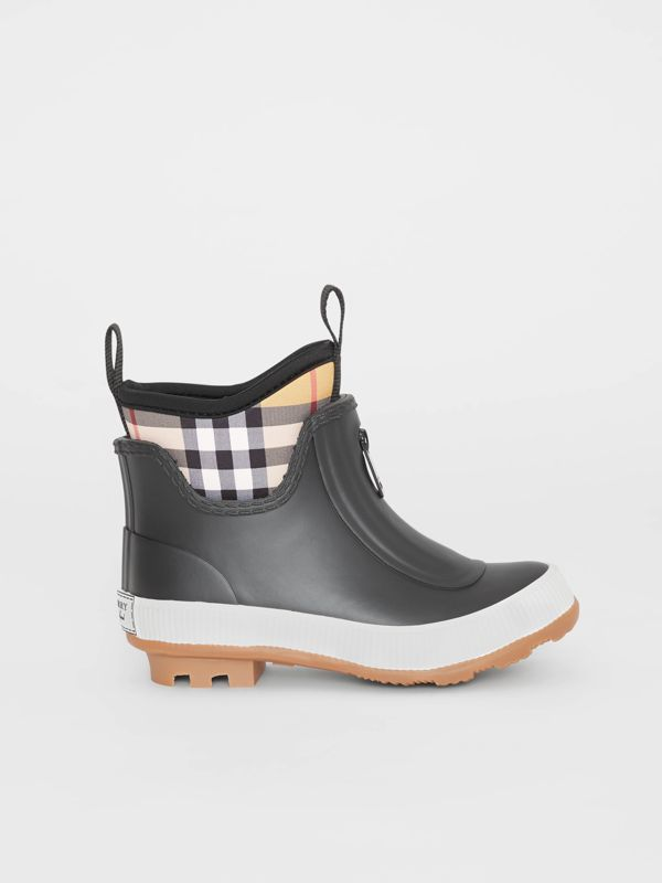Vintage Check Neoprene and Rubber Rain Boots in Black - Children | Burberry United Kingdom - cell image 3