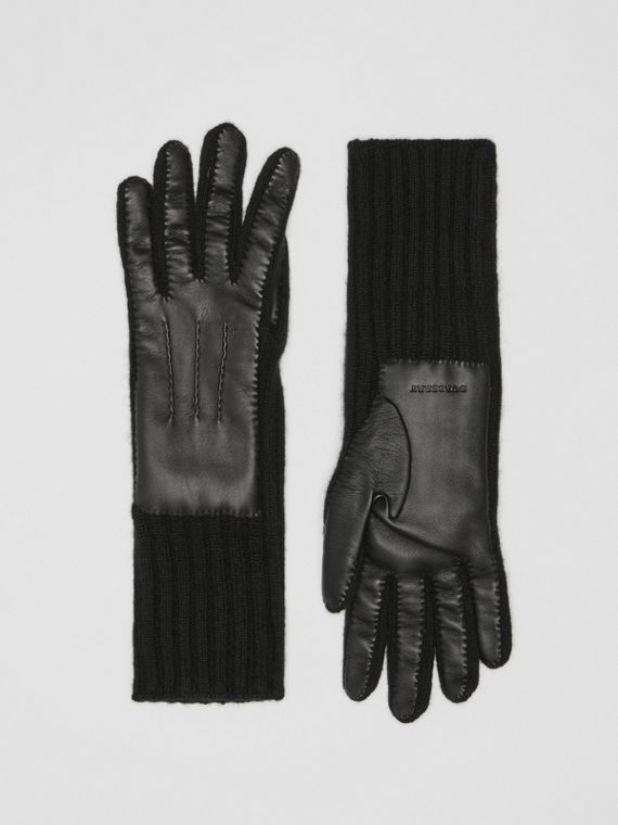 Cashmere and Lambskin Gloves in Black