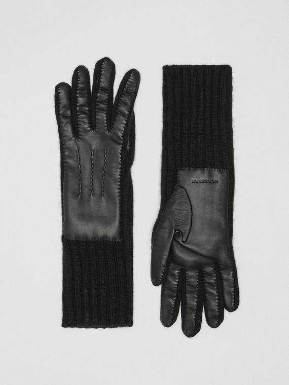 Handschuhe aus Kaschmir und Lammleder (Schwarz)