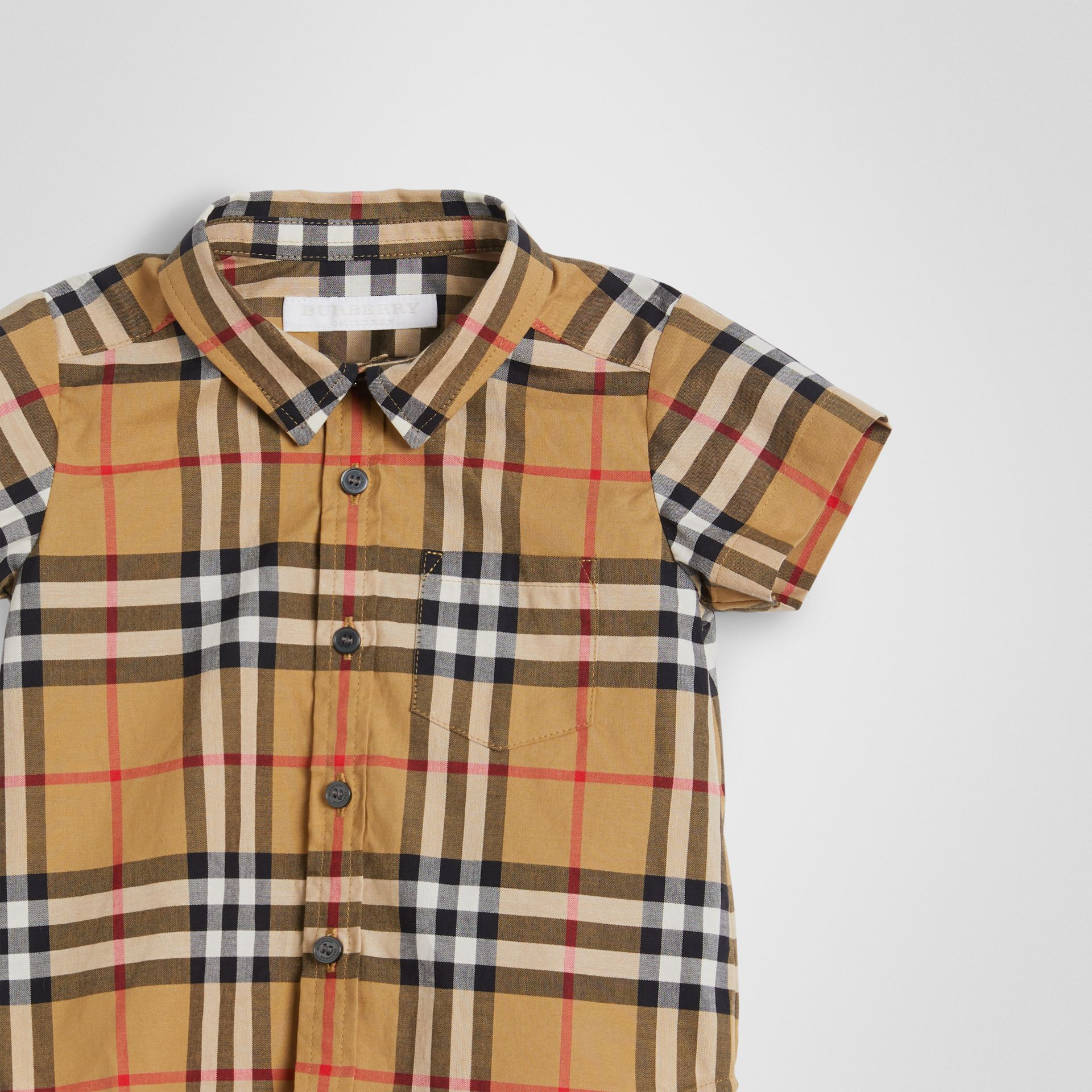 Short-sleeve Vintage Check Cotton Shirt in Antique Yellow - Children | Burberry - gallery image 4