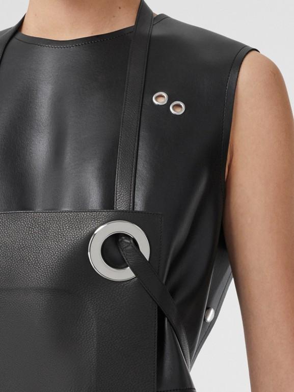 Eyelet Detail Leather Sleeveless Dress in Black - Women | Burberry - cell image 1