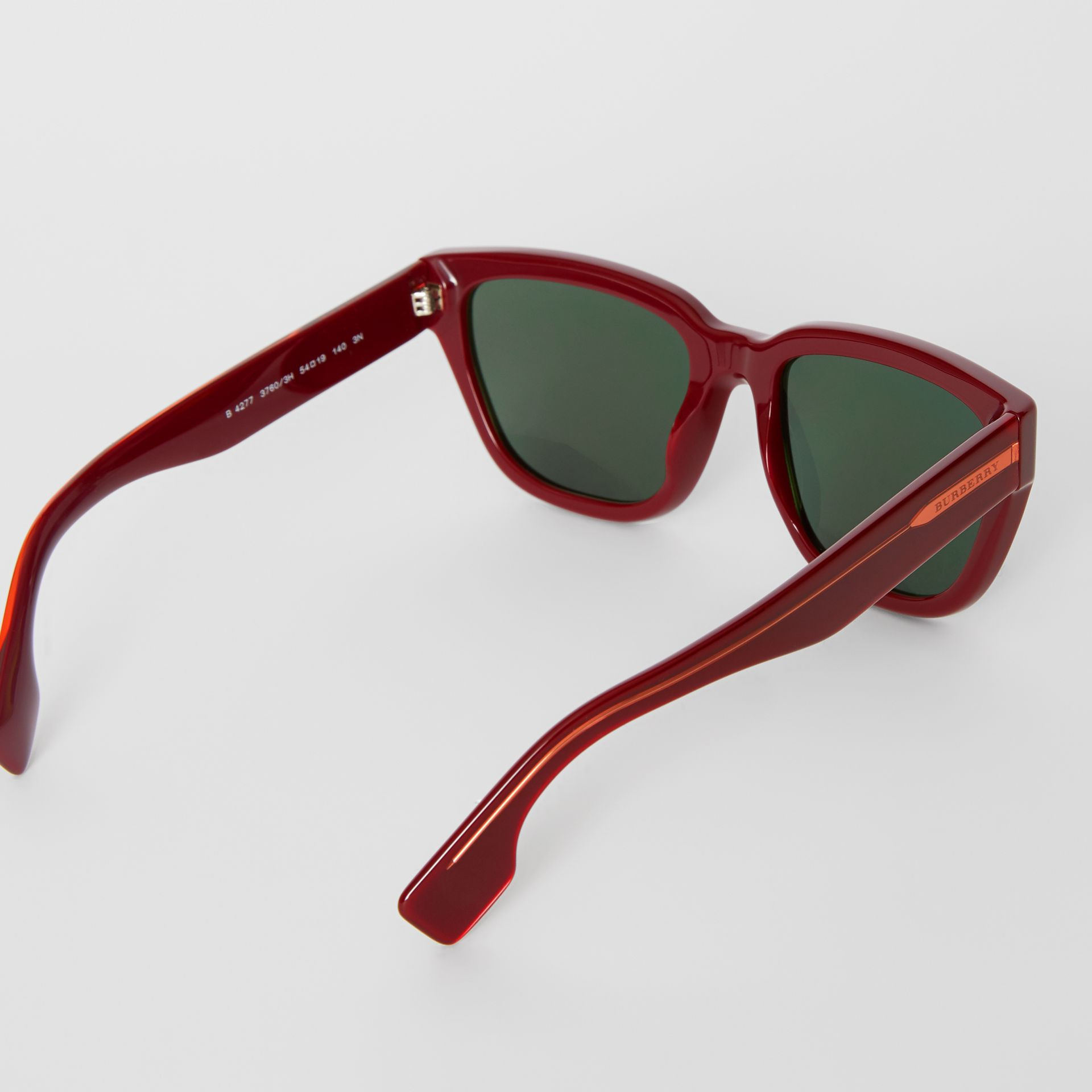 Square Frame Sunglasses in Burgundy - Women | Burberry Canada - gallery image 4
