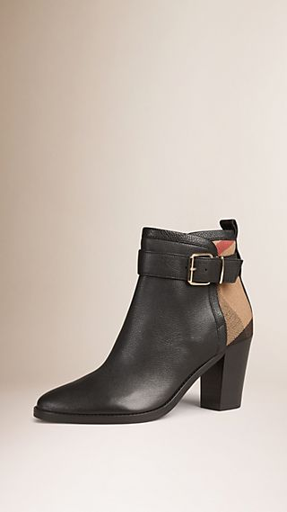 Belted Check and Leather Ankle Boots