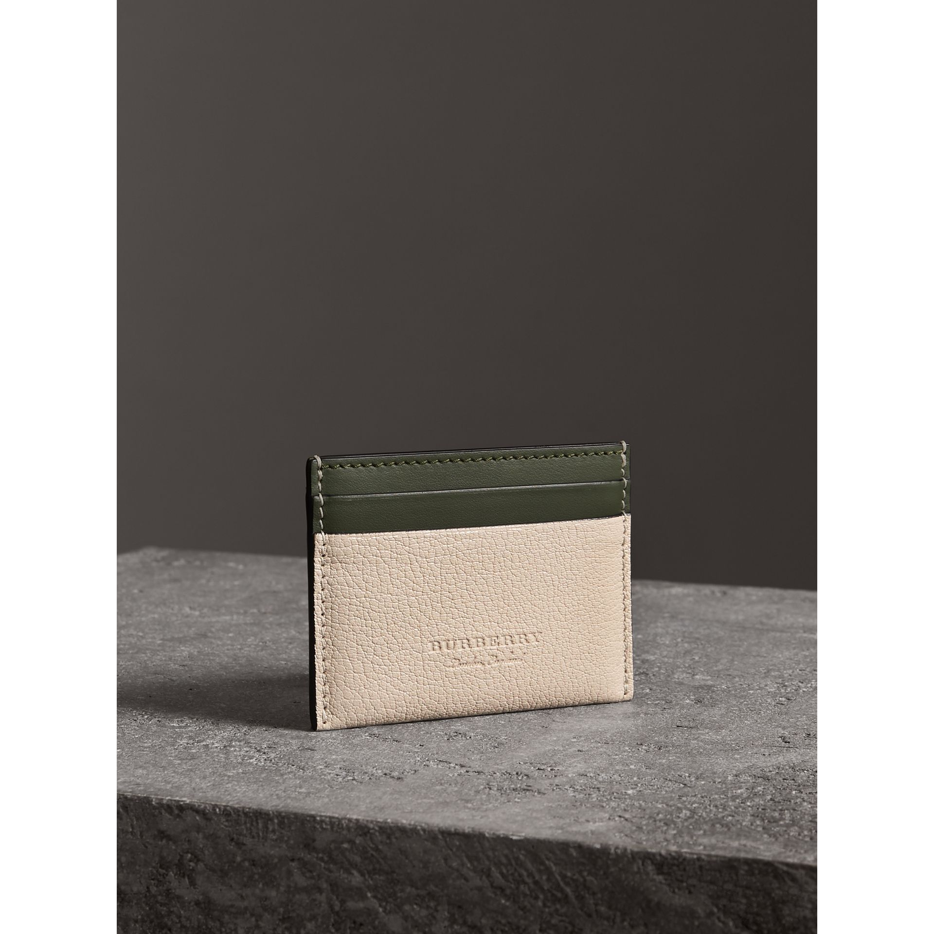 Two-tone Leather Card Case in Stone | Burberry - gallery image 4
