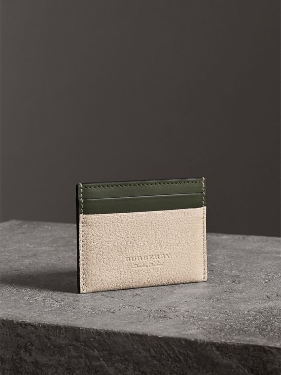 Two-tone Leather Card Case in Stone - Women | Burberry - cell image 3