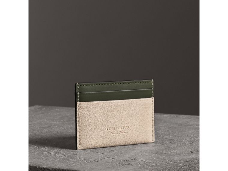 Two-tone Leather Card Case in Stone - Women | Burberry - cell image 4