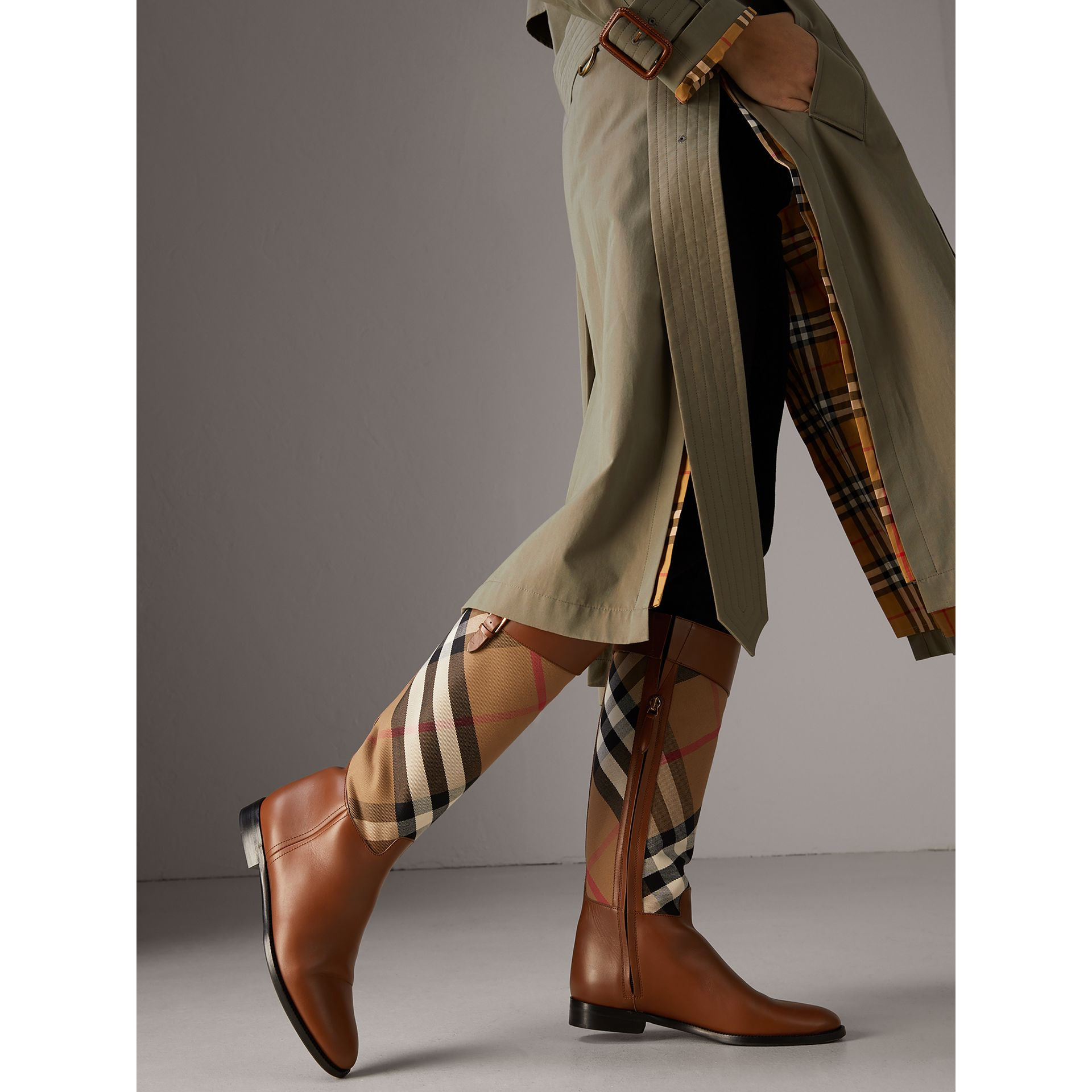 House Check and Leather Riding Boots in Chestnut - Women | Burberry - gallery image 3