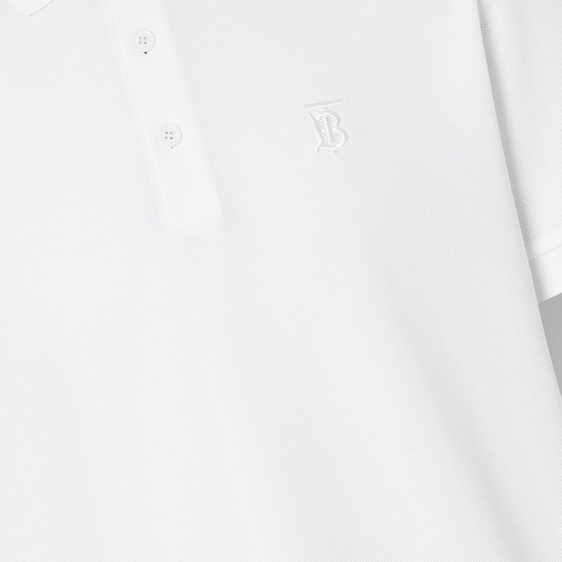 Monogram Motif Cotton Piqué Polo Shirt in White - Men | Burberry United Kingdom - gallery image 1