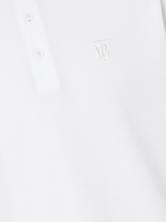 Monogram Motif Cotton Piqué Polo Shirt in White - Men | Burberry United Kingdom - cell image 1