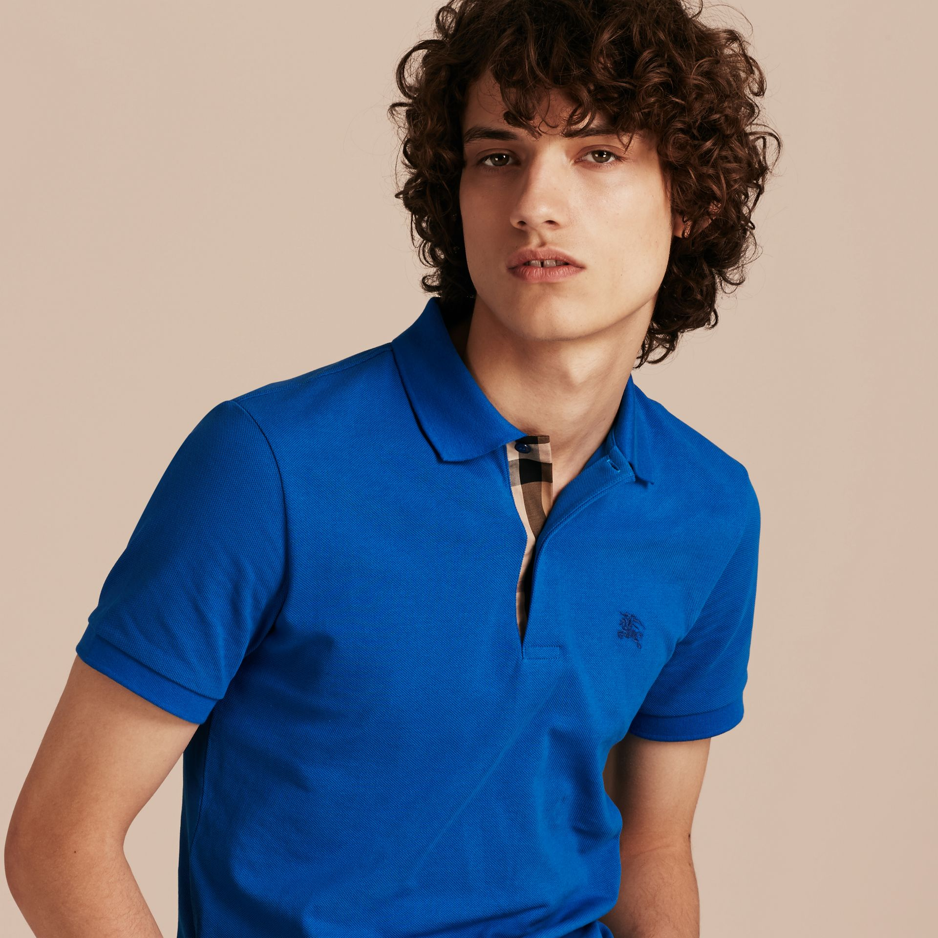 Check Placket Cotton Piqué Polo Shirt in Bright Opal - Men | Burberry - gallery image 6