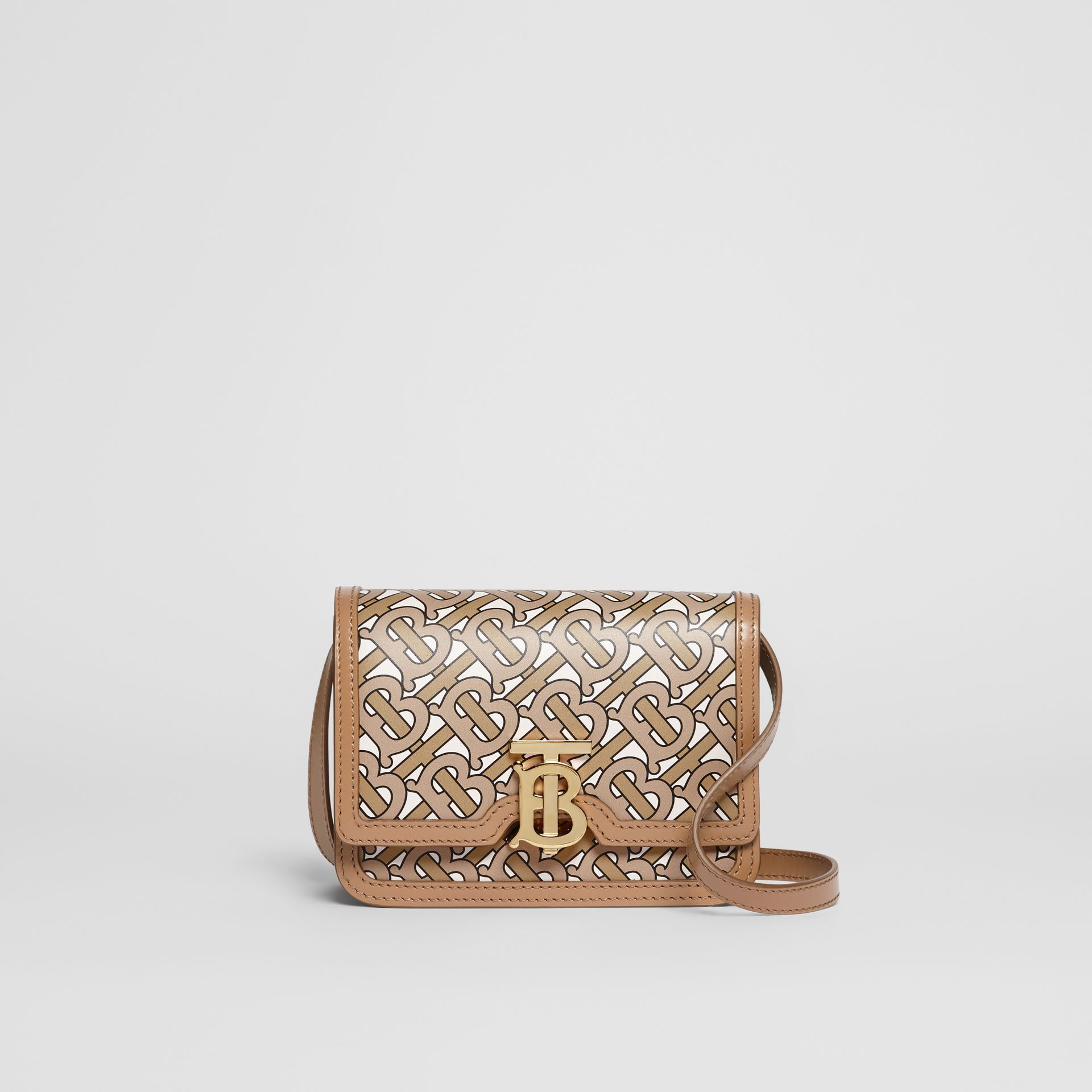 Mini Monogram Print Leather TB Bag in Beige - Women | Burberry Canada - gallery image 0