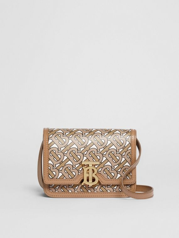 Mini Monogram Print Leather TB Bag in Beige