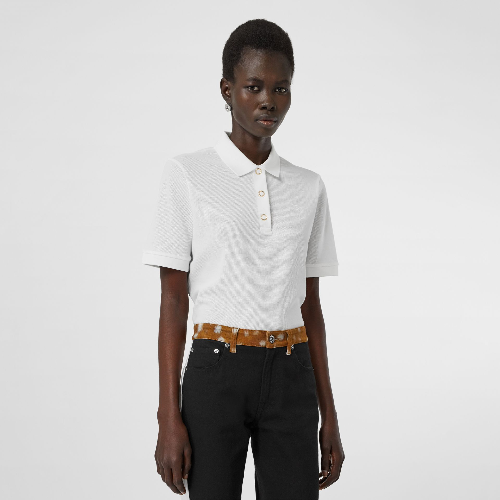 Monogram Motif Cotton Piqué Polo Shirt in White - Women | Burberry - gallery image 0