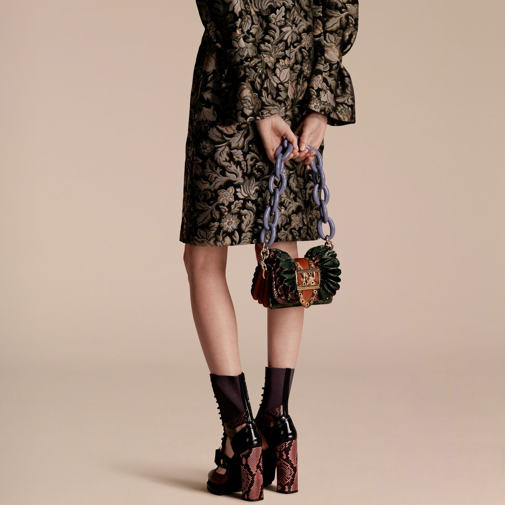 The Ruffle Buckle Bag in Snakeskin, Ostrich and Calfskin - gallery image 3