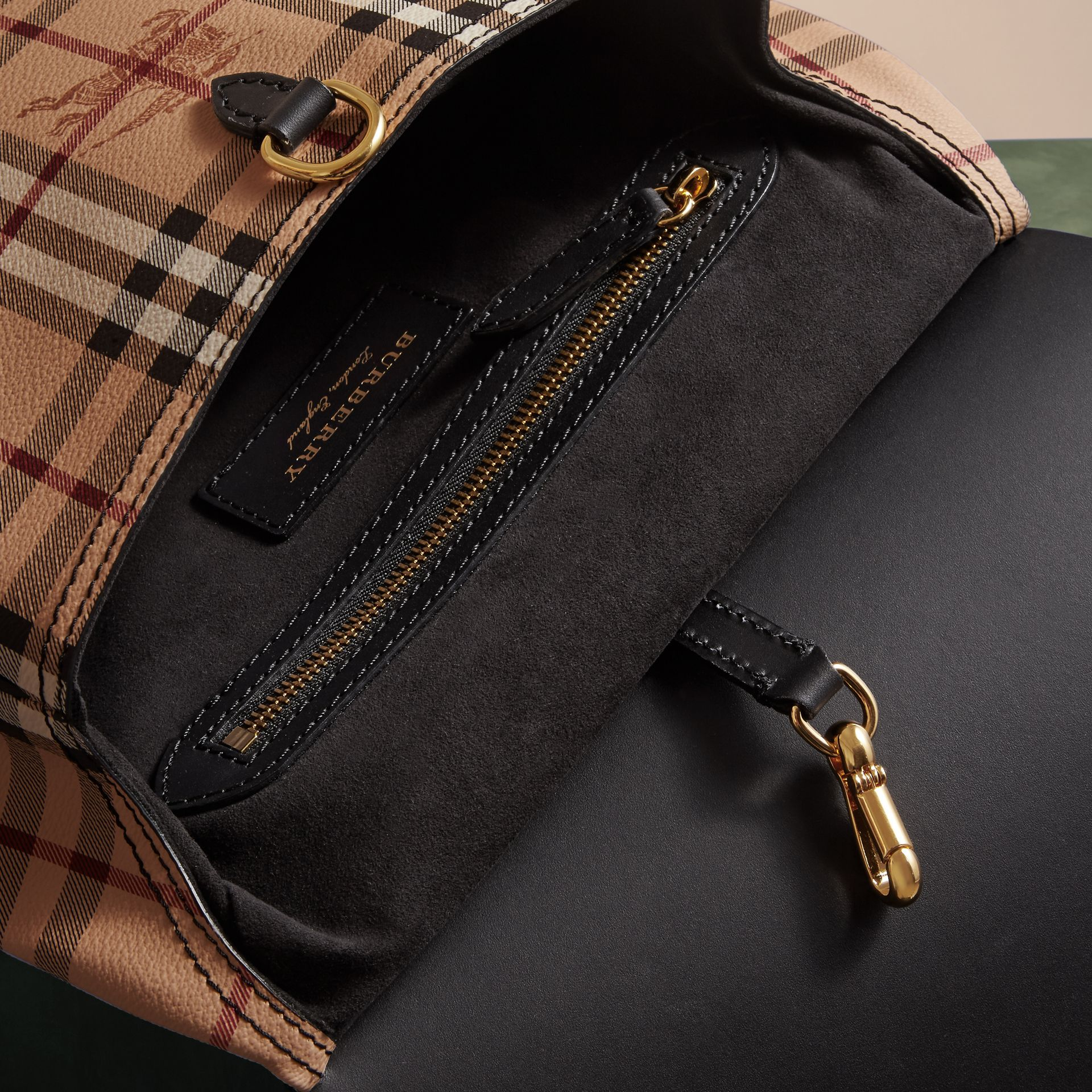 The Small Bridle Bag in Leather and Haymarket Check in Black - Men | Burberry - gallery image 5