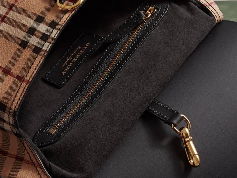 The Small Bridle Bag in Leather and Haymarket Check in Black - Men | Burberry - cell image 4