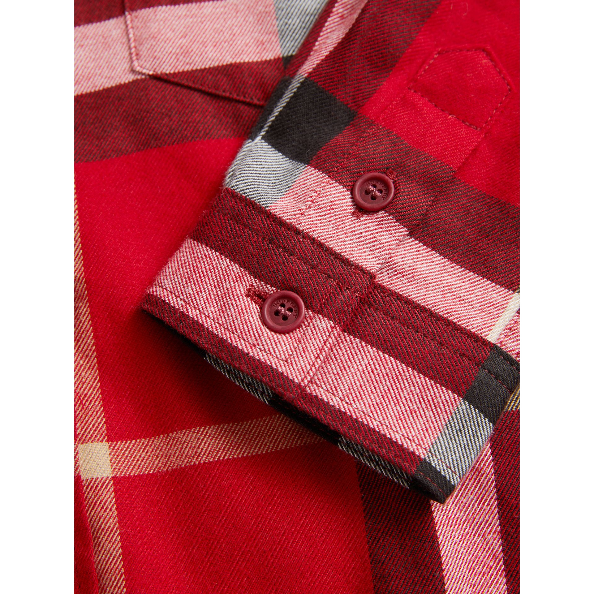 Check Cotton Flannel Button-Down Shirt in Parade Red - Boy | Burberry United Kingdom - gallery image 1