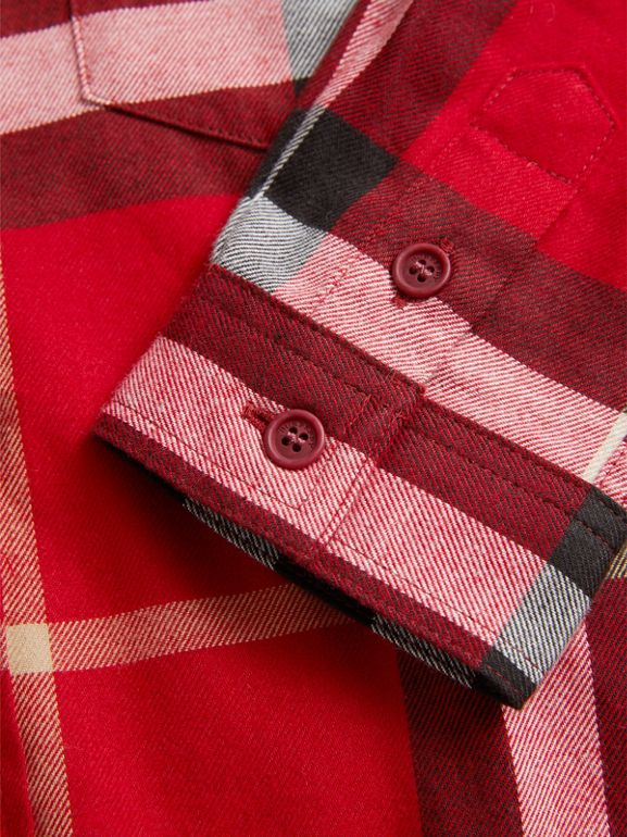 Check Cotton Flannel Button-Down Shirt in Parade Red - Boy | Burberry - cell image 1