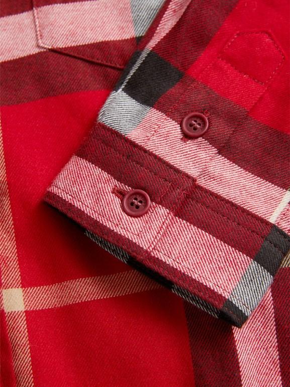Camisa social xadrez de algodão (Vermelho Bandeira) - Menino | Burberry - cell image 1
