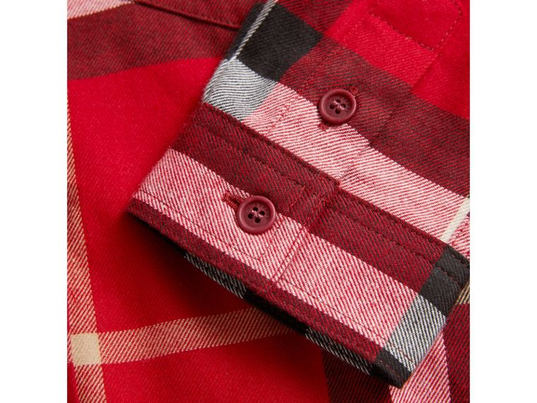 Check Cotton Flannel Button-Down Shirt in Parade Red - Boy | Burberry United Kingdom - cell image 1