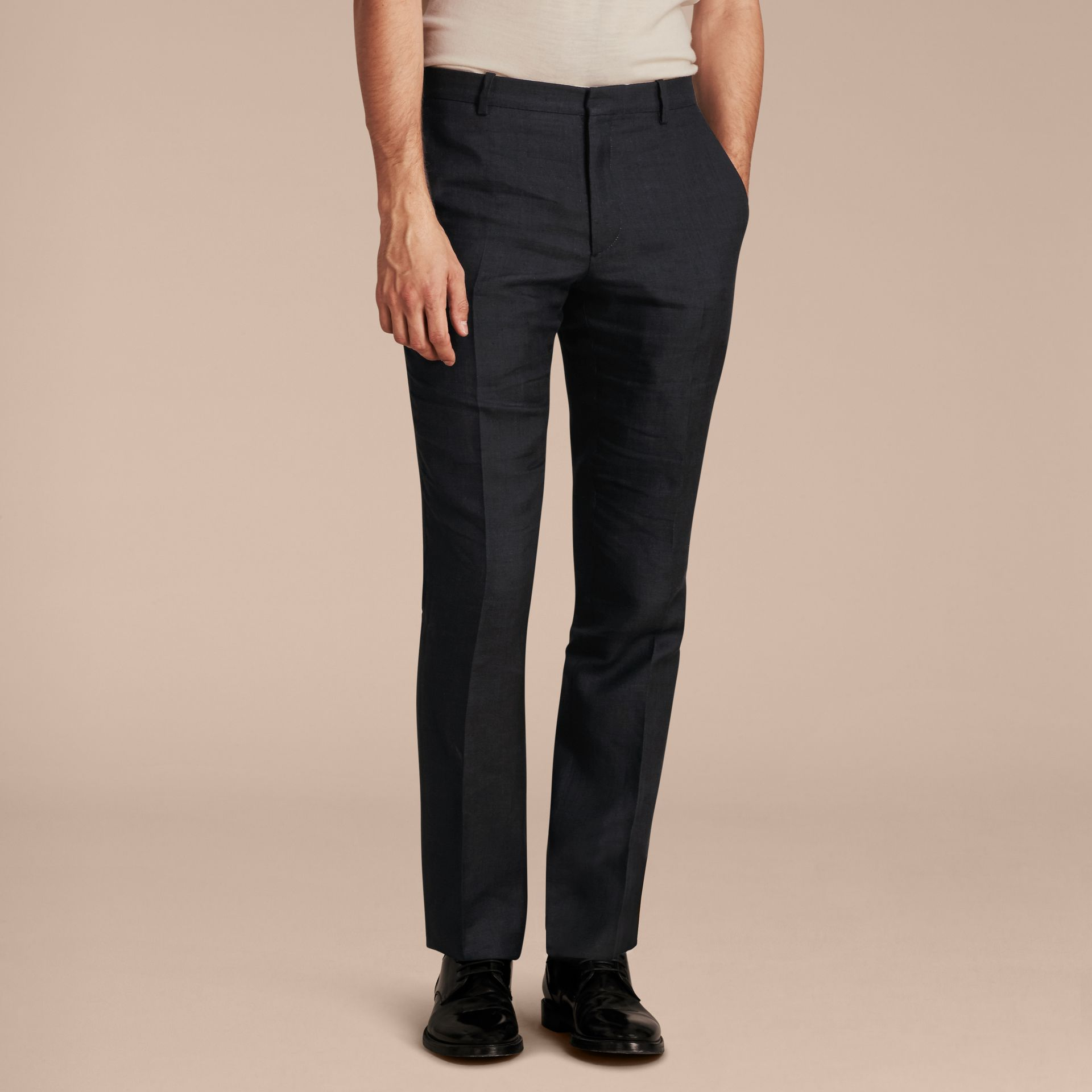 Dark navy Modern Fit Linen Wool and Silk Trousers - gallery image 6
