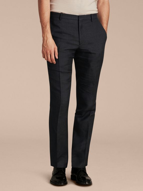 Modern Fit Linen Wool and Silk Trousers