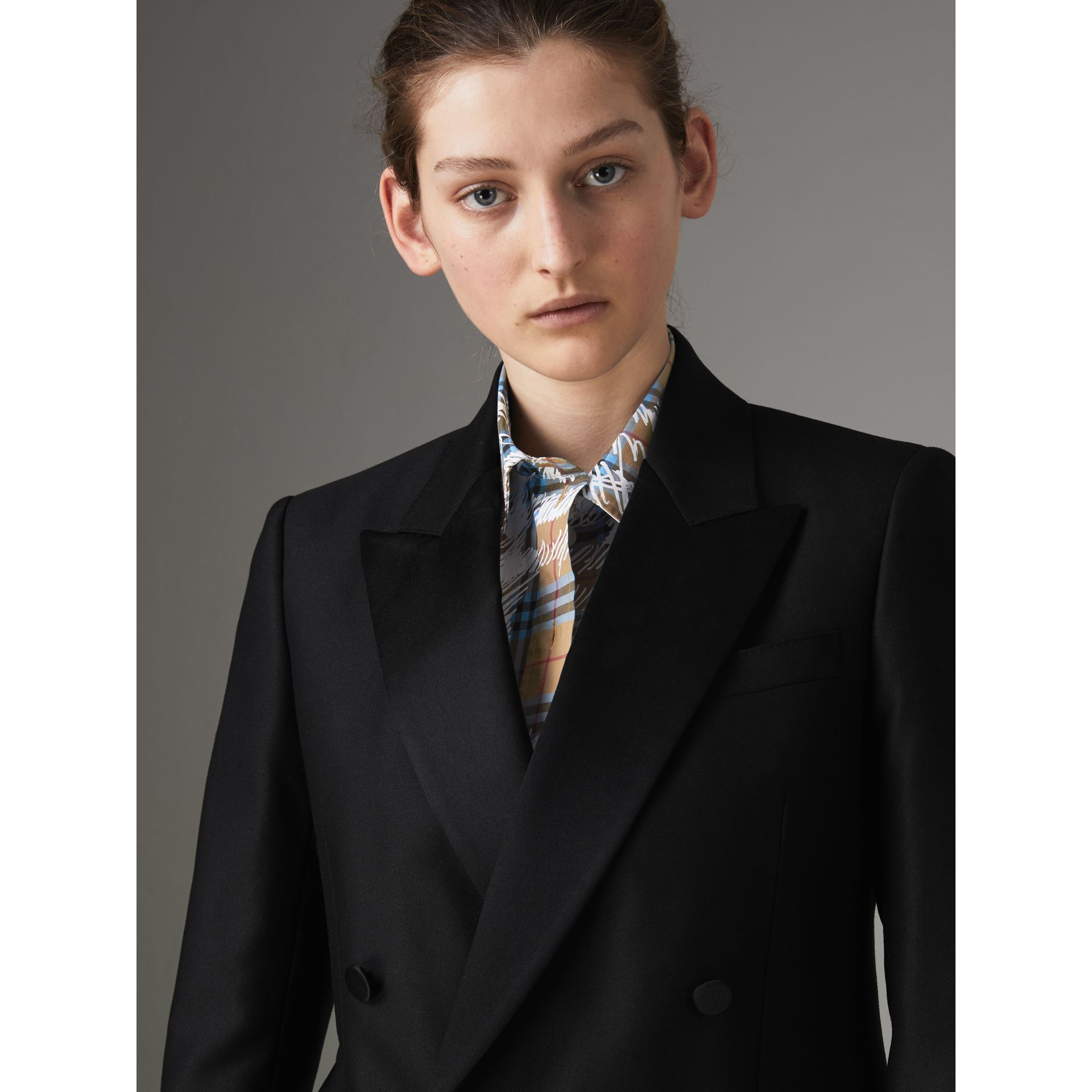 Wool Mohair Double-breasted Evening Jacket in Black - Women | Burberry Canada - gallery image 1
