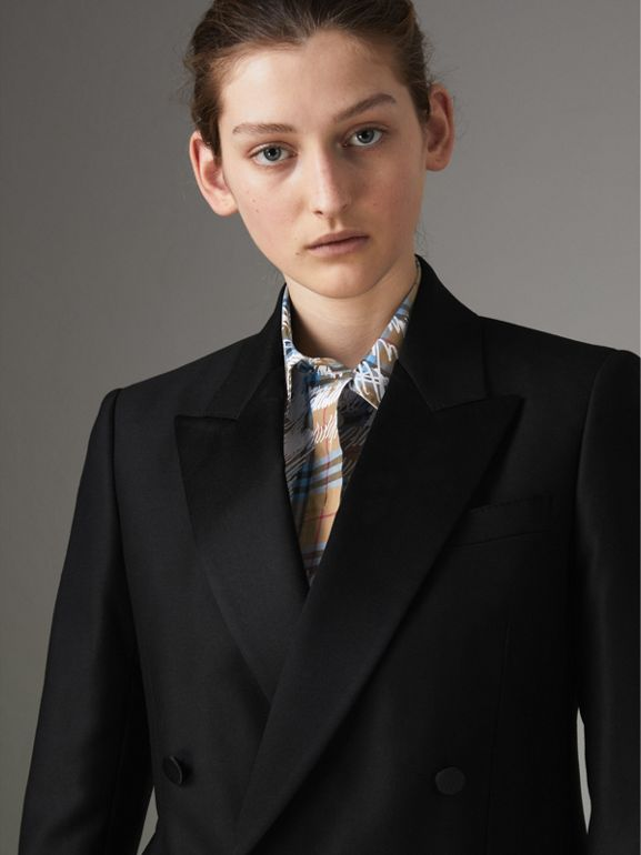 Wool Mohair Double-breasted Evening Jacket in Black - Women | Burberry Hong Kong - cell image 1