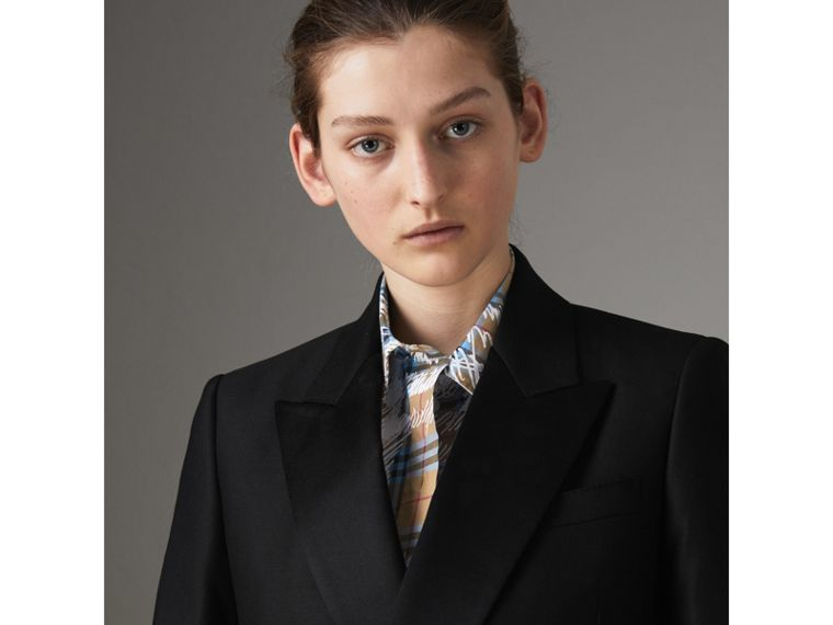 Wool Mohair Double-breasted Evening Jacket in Black - Women | Burberry - cell image 1