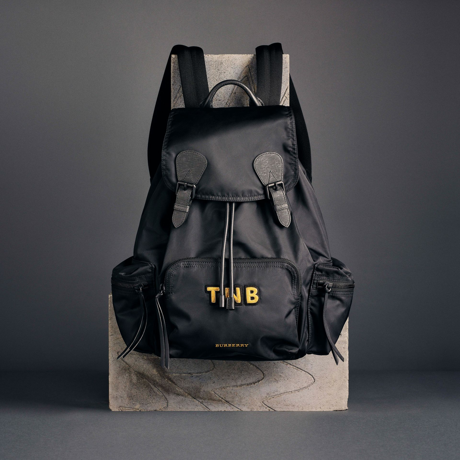 The Large Rucksack in Technical Nylon and Leather in Black - Men | Burberry - gallery image 8