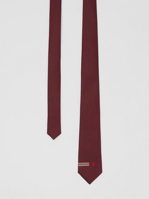 Classic Cut Icon Stripe and Monogram Motif Silk Tie in Claret