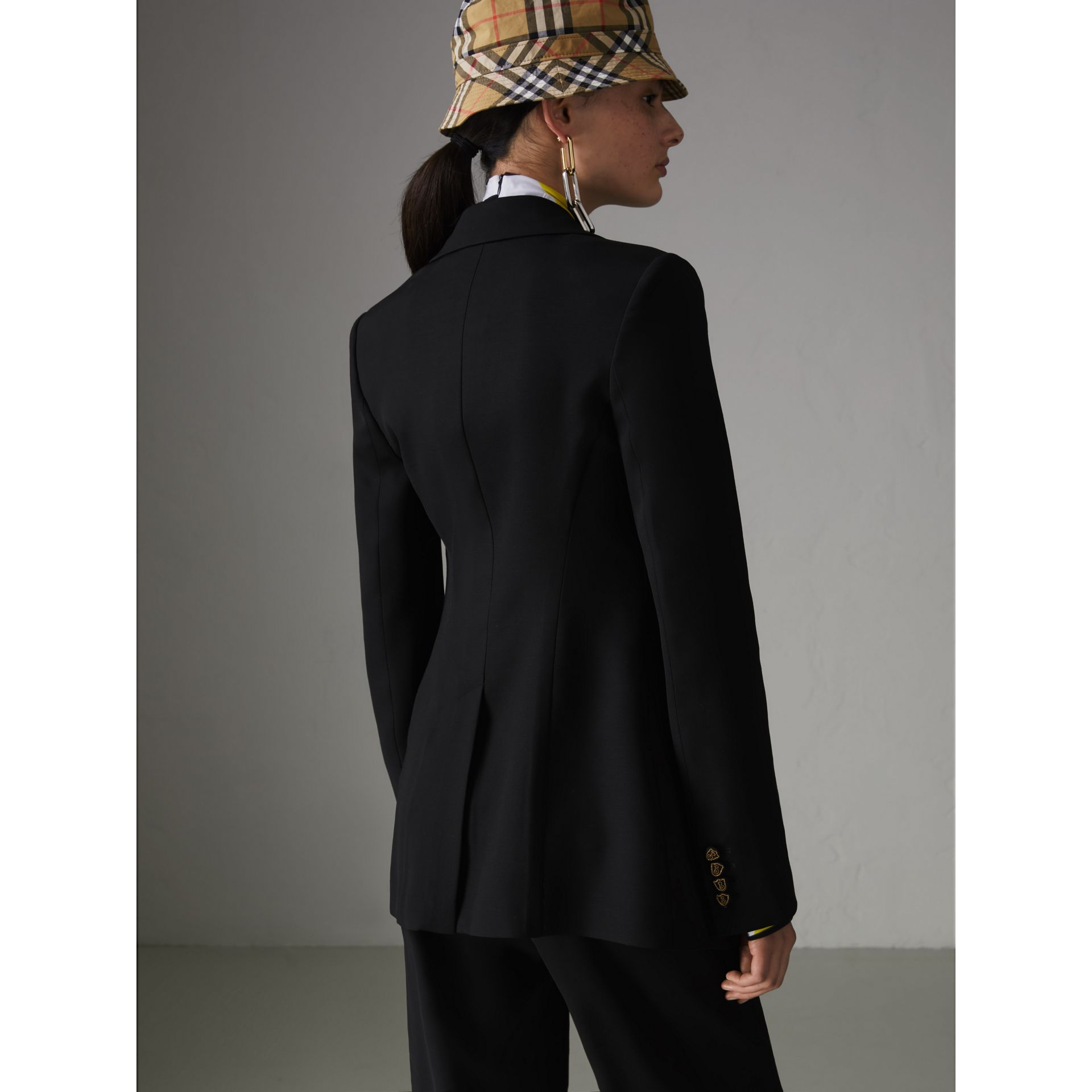 Crest Button Wool Silk Tailored Jacket in Black - Women | Burberry Canada - gallery image 2