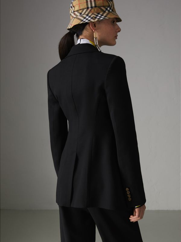 Crest Button Wool Silk Tailored Jacket in Black - Women | Burberry - cell image 2