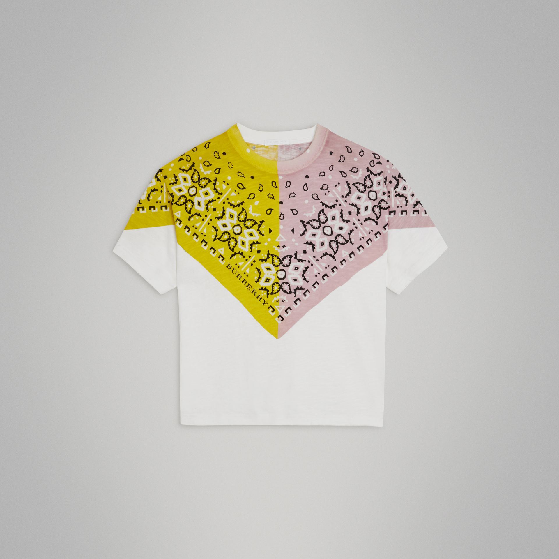 Bandana Print Cotton T-shirt in White | Burberry United Kingdom - gallery image 0
