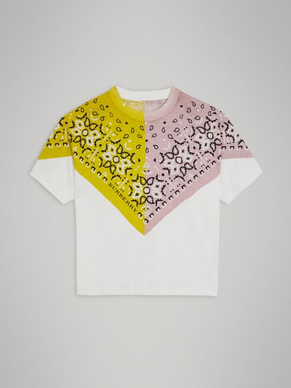 Bandana Print Cotton T-shirt in White