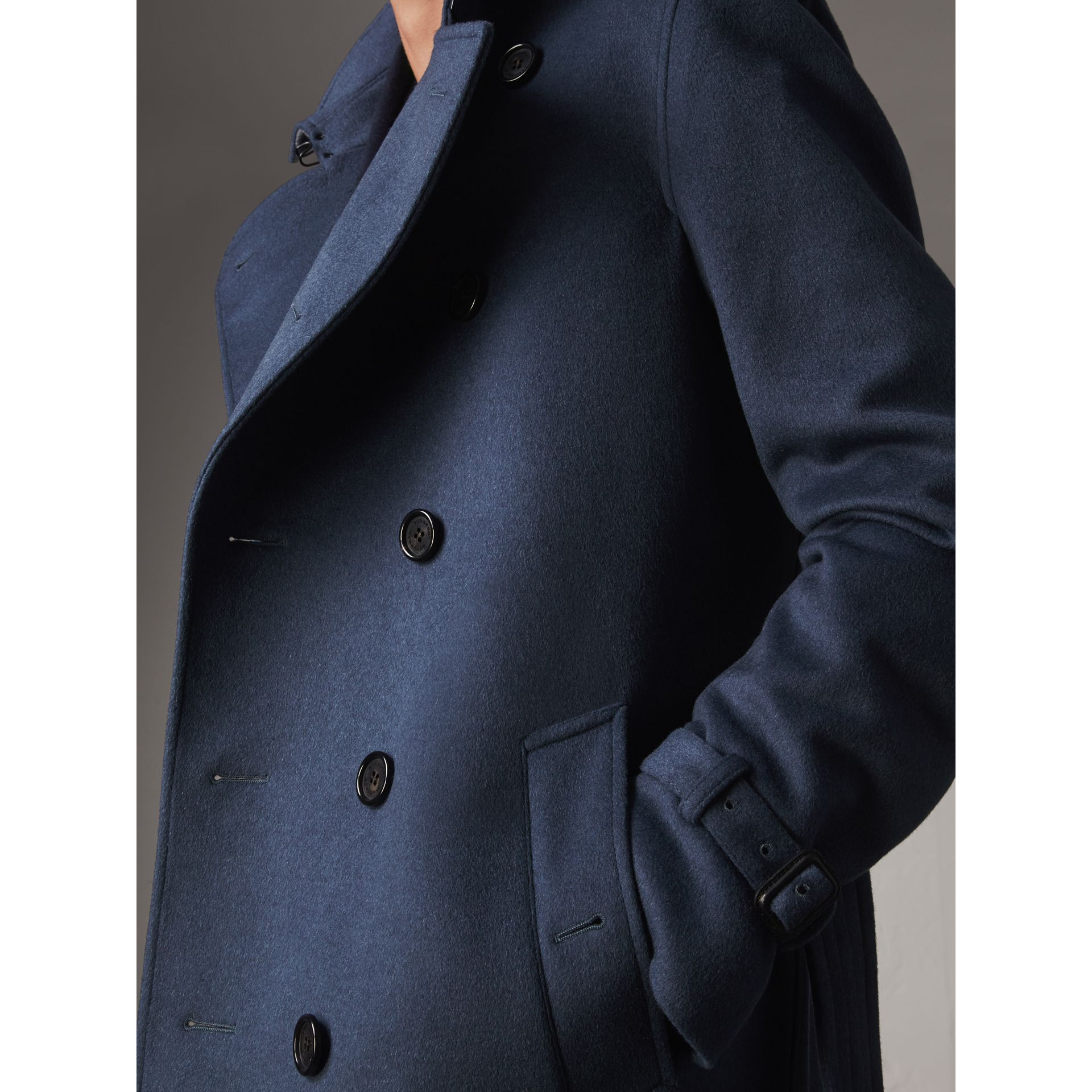 Wool Cashmere Trench Coat in Dark Canvas Blue - Men | Burberry United Kingdom - gallery image 1