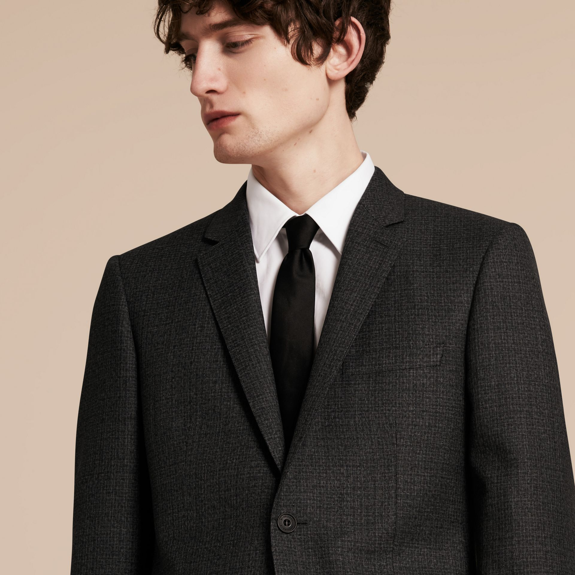 Dark grey melange Slim Fit Melange Wool Half-canvas Suit - gallery image 5