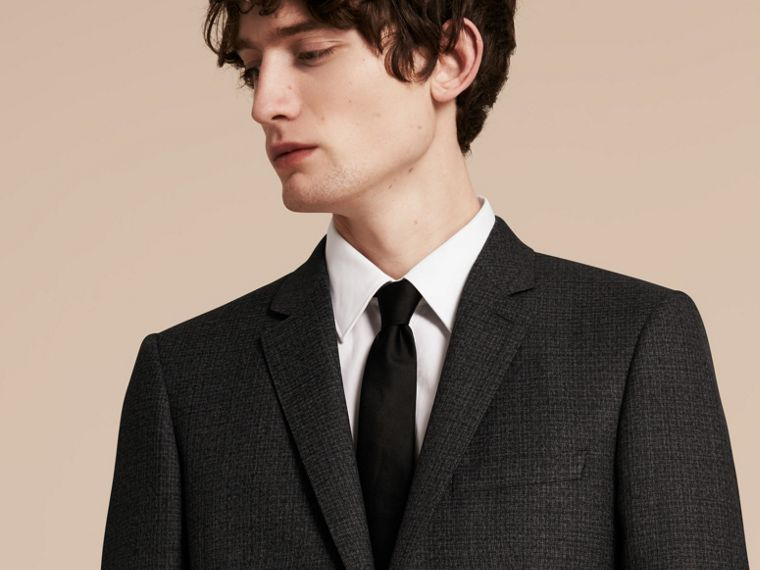 Dark grey melange Slim Fit Melange Wool Half-canvas Suit - cell image 4