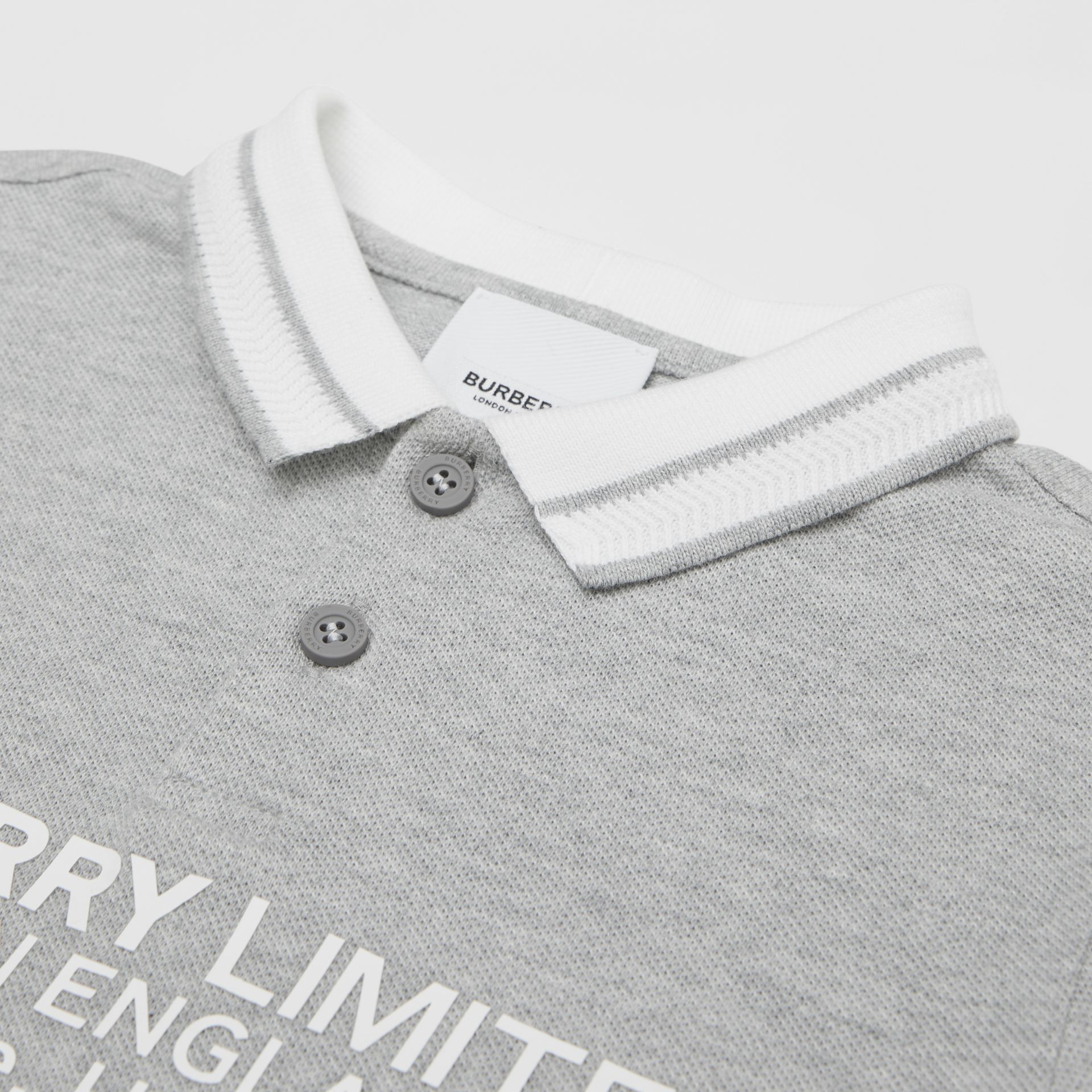 Location Print Cotton Piqué Polo Shirt in Grey Melange | Burberry Hong Kong S.A.R - gallery image 1