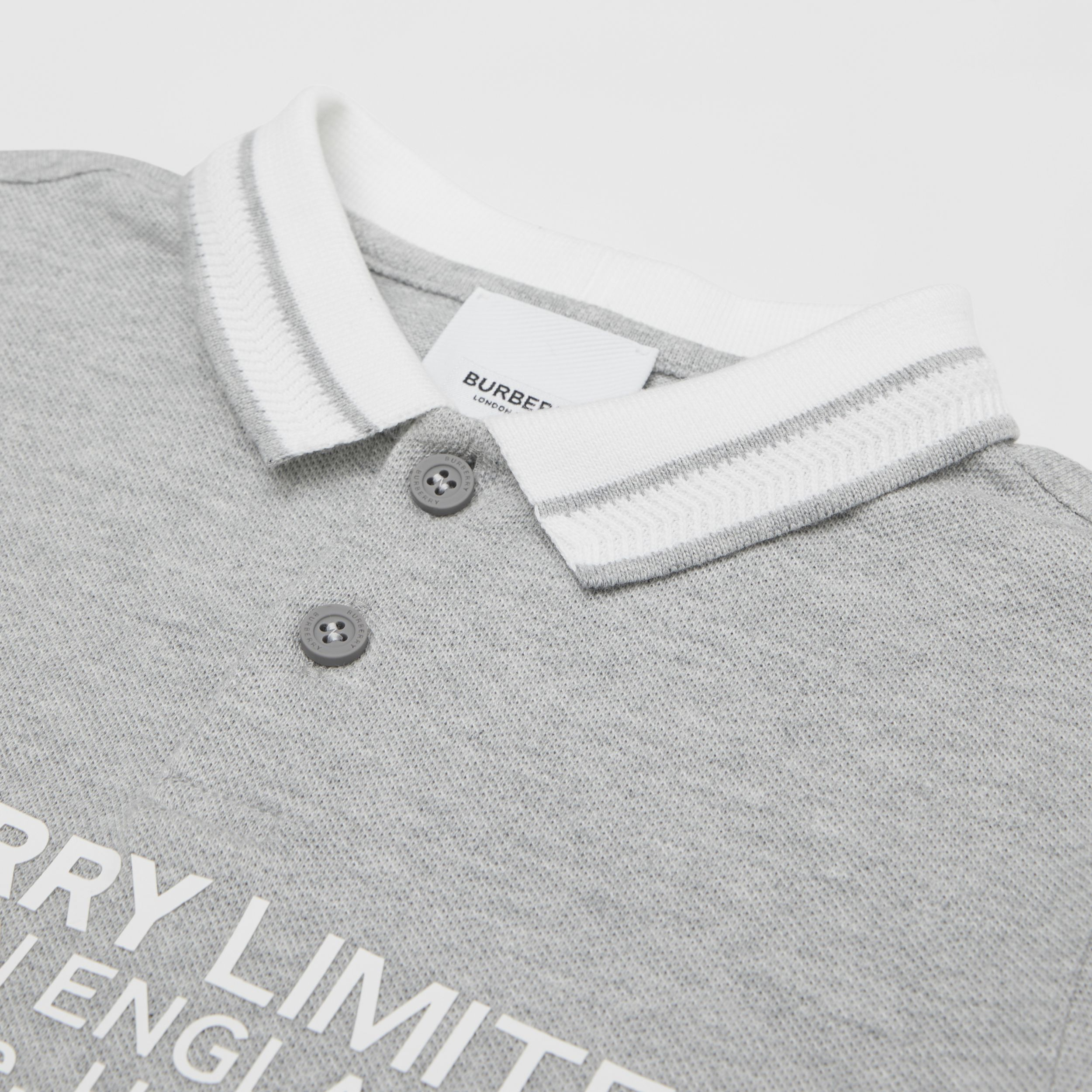 Location Print Cotton Piqué Polo Shirt in Grey Melange - Children | Burberry - 2