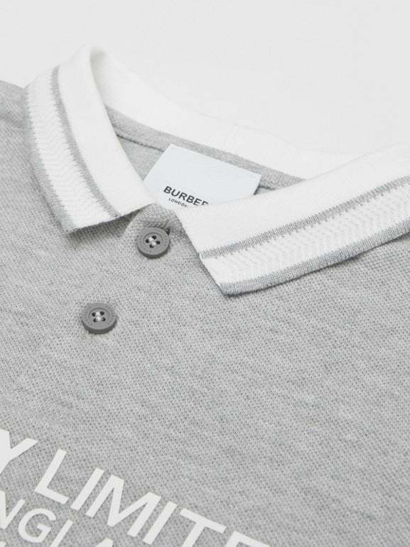 Location Print Cotton Piqué Polo Shirt in Grey Melange | Burberry Hong Kong S.A.R - cell image 1