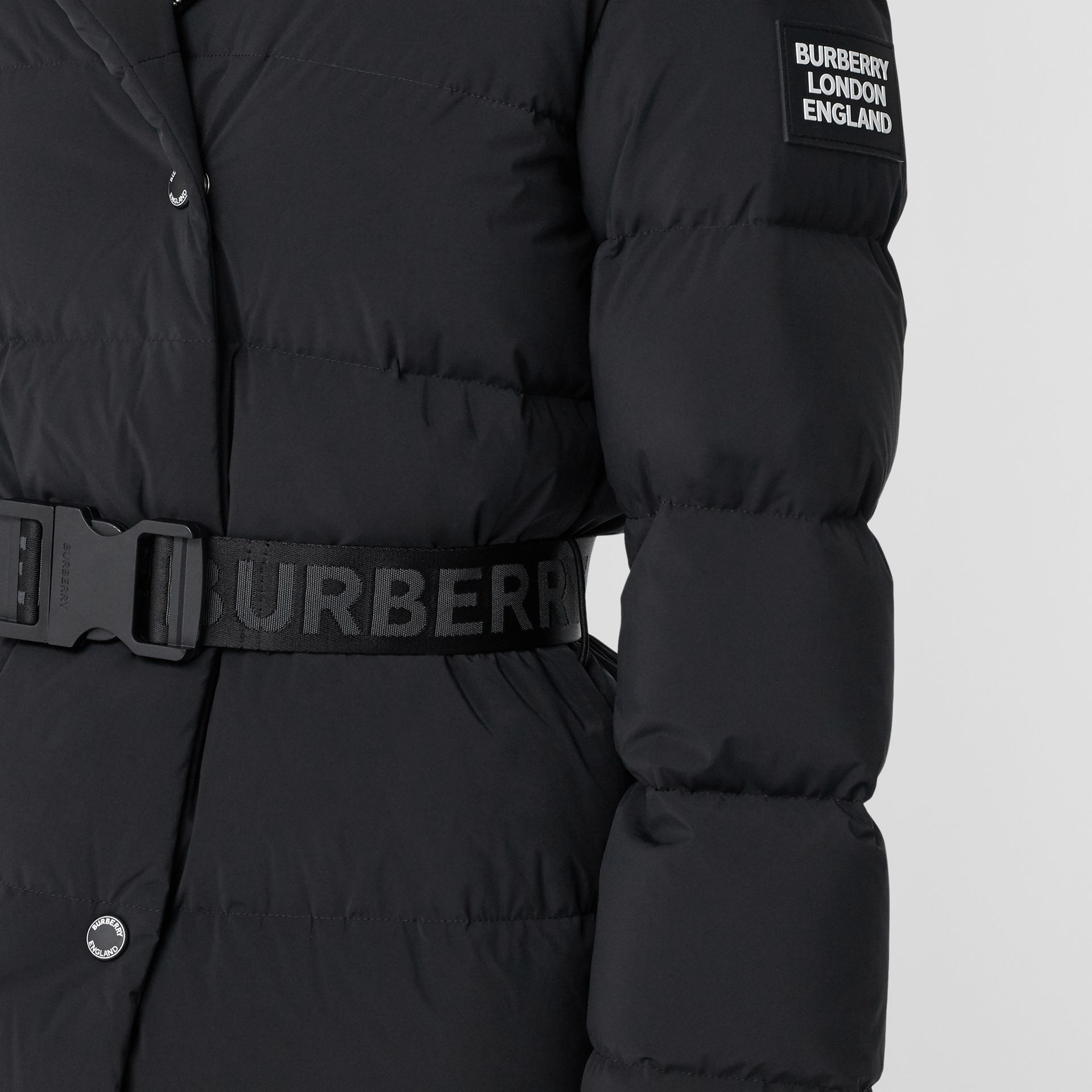 Detachable Hood Belted Puffer Coat in Black - Women | Burberry - gallery image 4