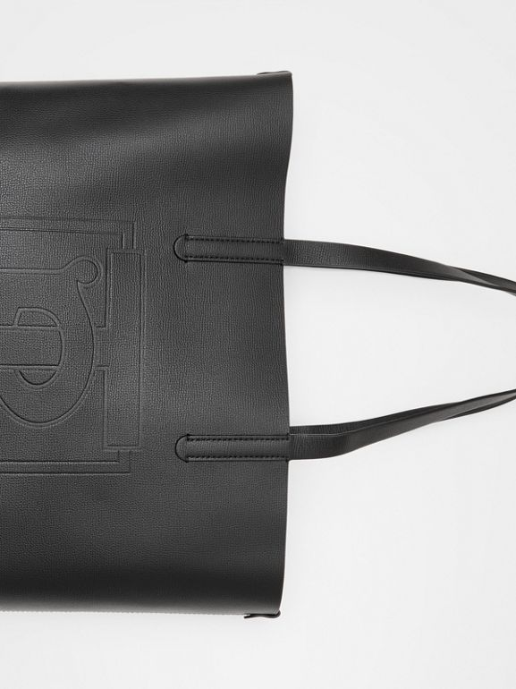 Large Embossed Monogram Motif Leather Tote in Black | Burberry - cell image 1