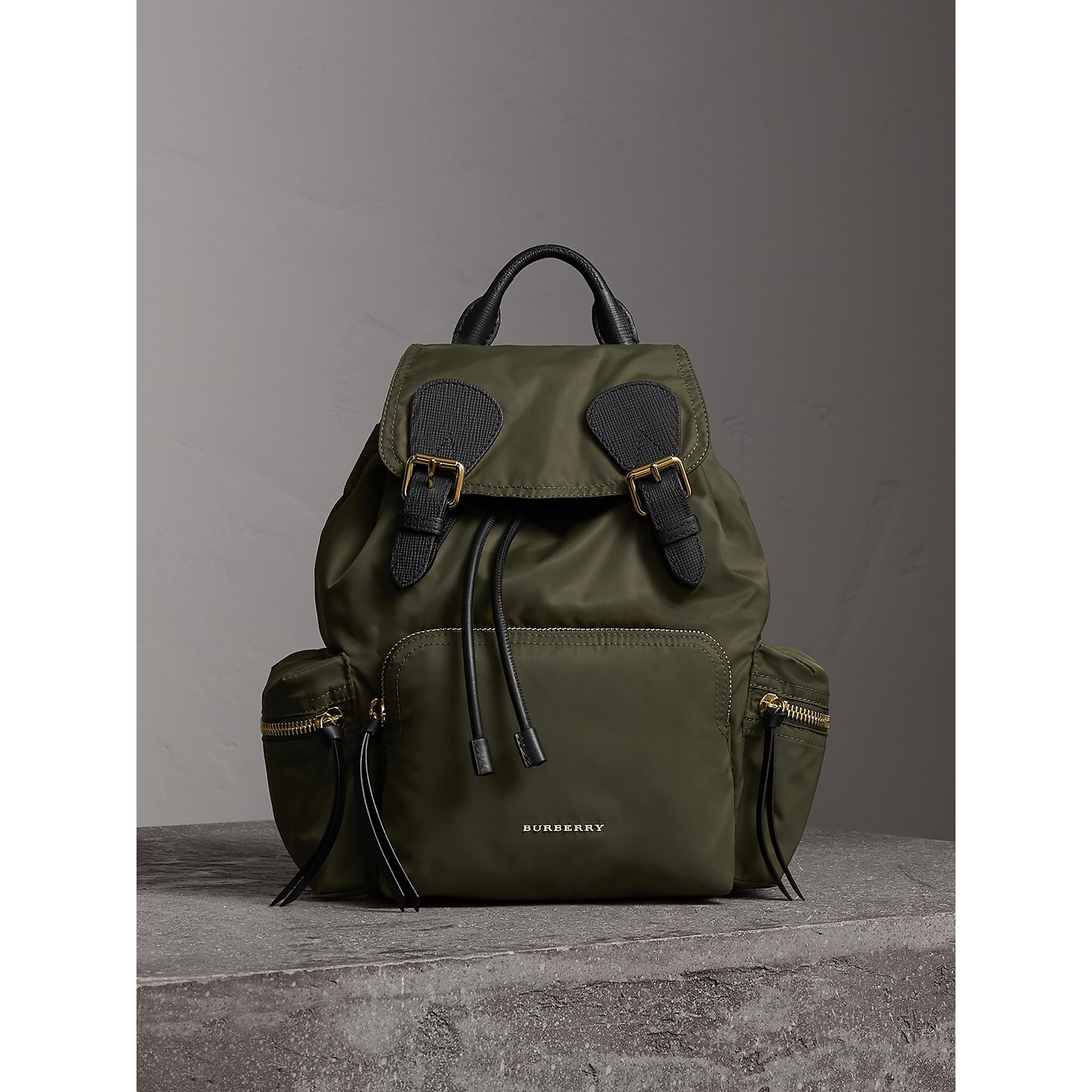 The Medium Rucksack in Technical Nylon and Leather in Canvas Green - Women | Burberry - gallery image 7