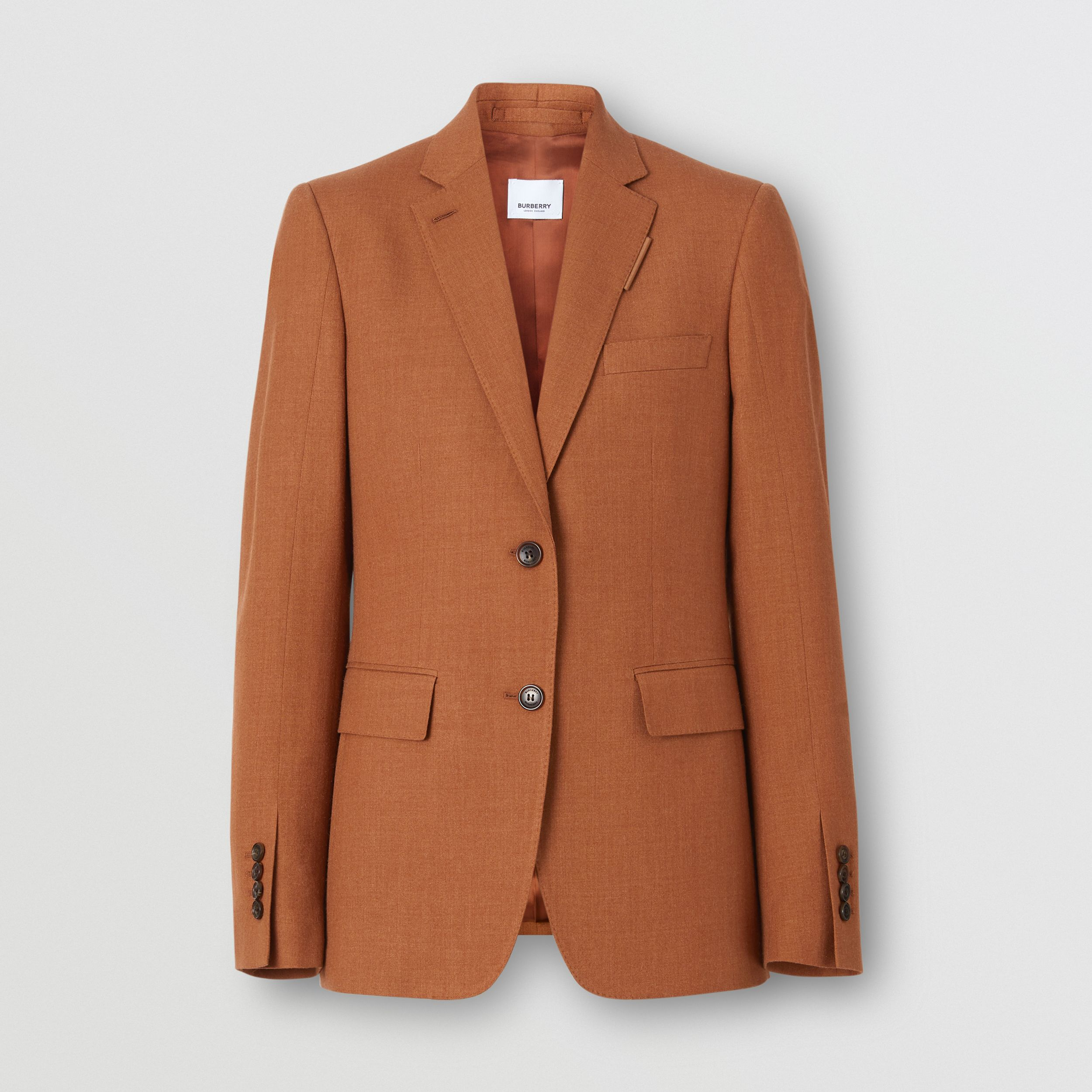 Wool, Silk and Cotton Blazer in Rust - Women | Burberry - 4