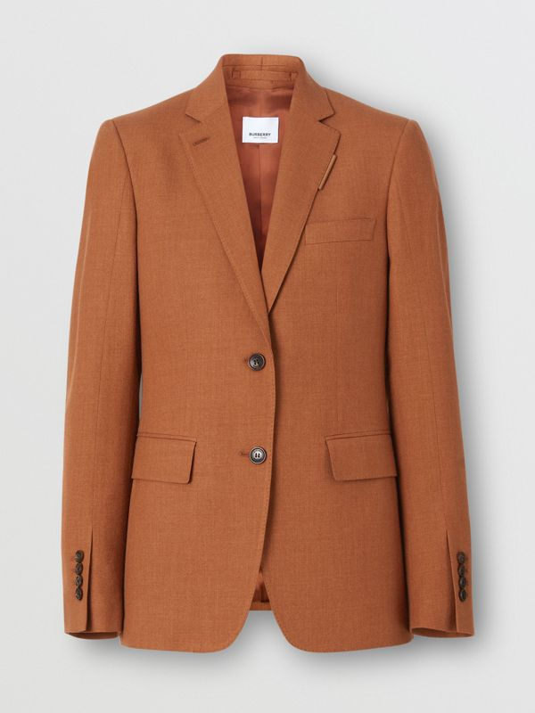 Wool, Silk and Cotton Blazer in Rust - Women | Burberry - cell image 3