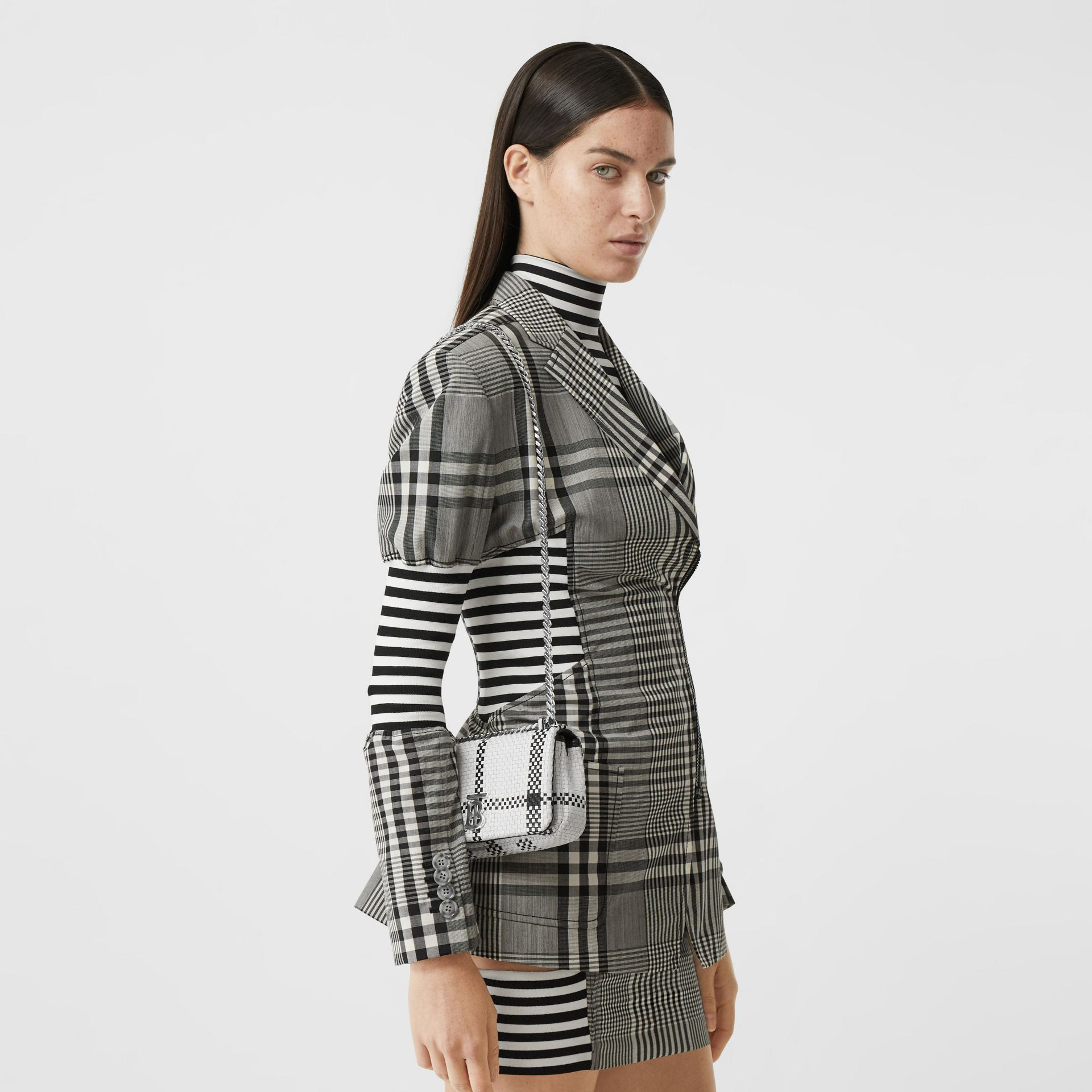 Mini Latticed Leather Lola Bag in Black/white - Women | Burberry - gallery image 2