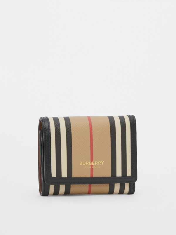 Small Icon Stripe E-canvas Folding Wallet in Archive Beige - Women | Burberry United Kingdom - cell image 3