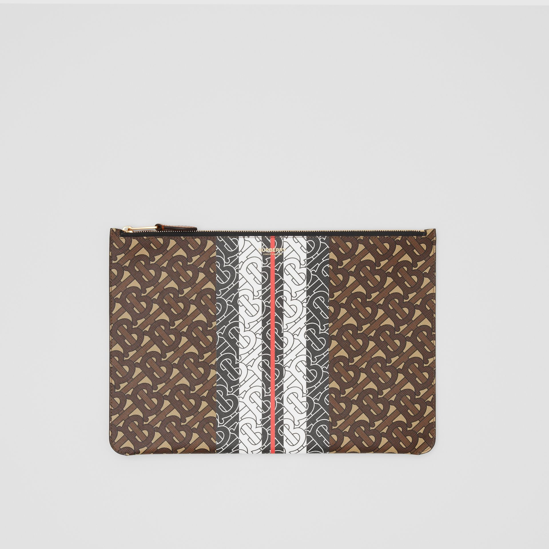Monogram Stripe E-canvas Pouch in Bridle Brown - Women   Burberry Hong Kong S.A.R - gallery image 0