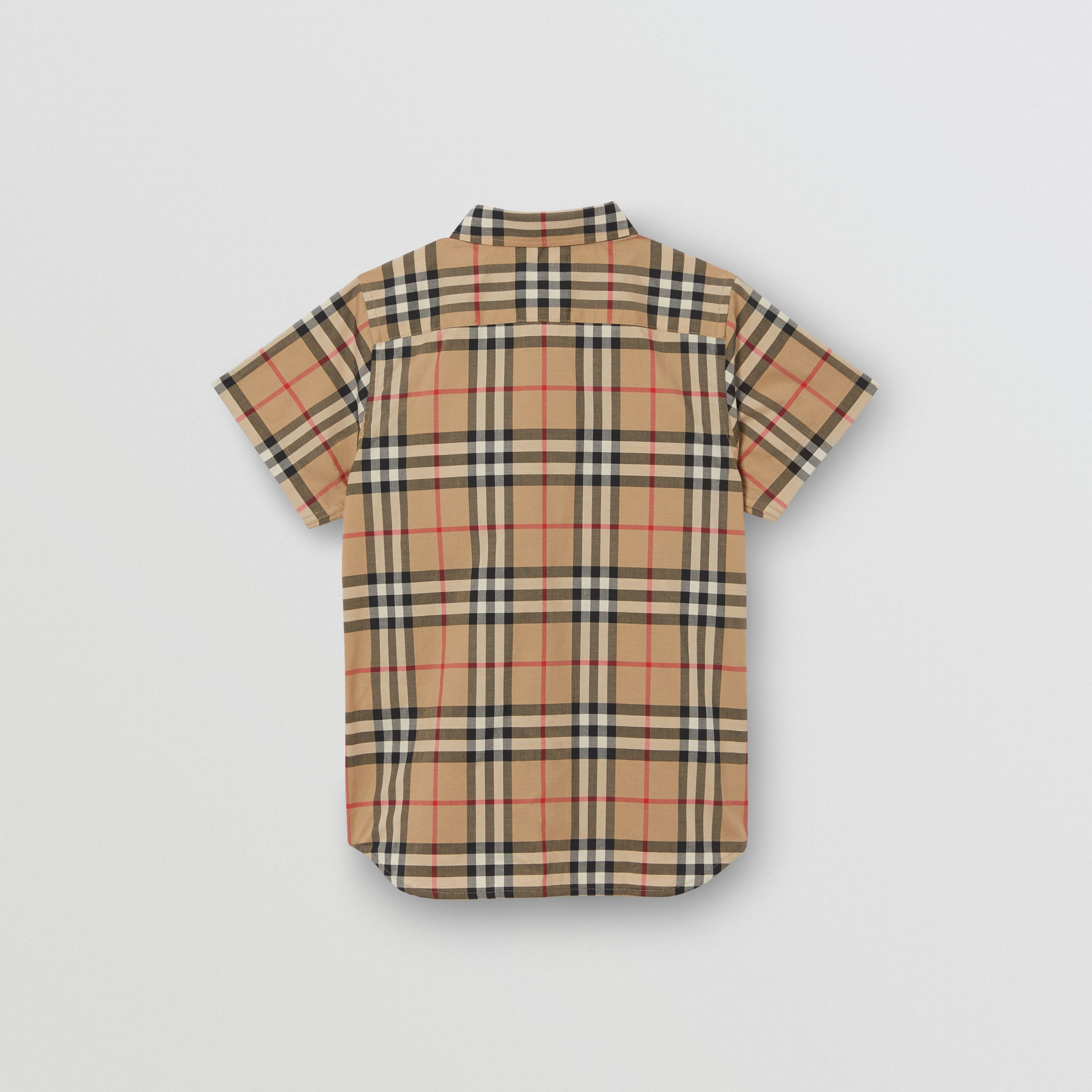 Short-sleeve Vintage Check Cotton Shirt in Archive Beige | Burberry - 4